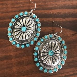 Jewelry - Silver & Turquoise Beaded Concho Earrings